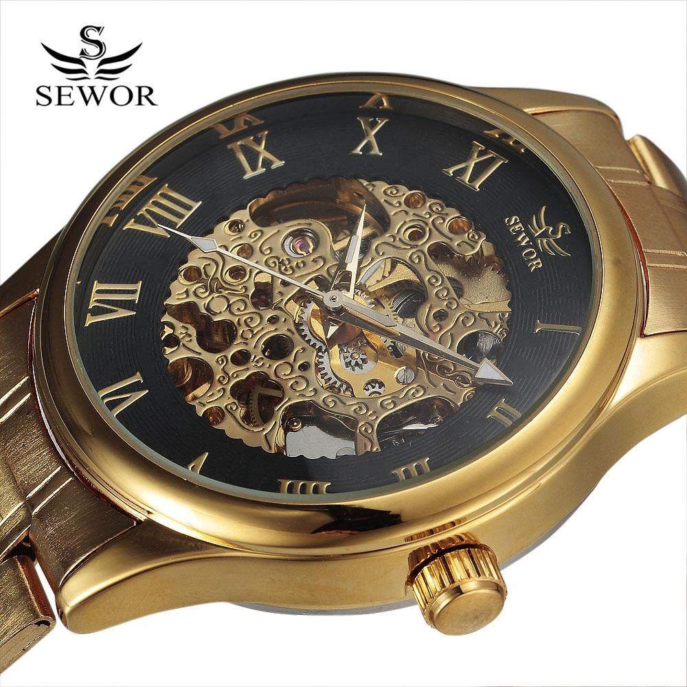 Luxus SEWOR márka férfi arany automatikus nézni római tárcsázni - Férfi órák