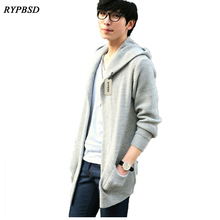 2017 Autumn Korean Mens Hooded Cardigan Sweater Foreign Trade Cardigan Sweater Men Cardigan Long Mens Knitted Sweater 2 Colors
