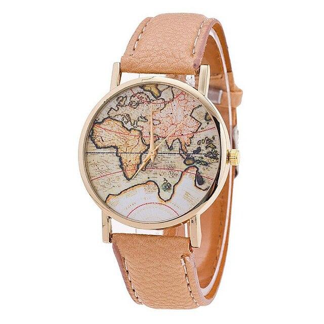 Fashion Women's World Map Leather Strap Analog Quartz Wrist Watch Casual Women L