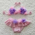 Flor del Verano del Bebé Traje de Baño de Dos Piezas Set Beach traje de Baño Pequeño Niño Lindo de Los Niños traje de Baño Bikini 5 Colores S2008