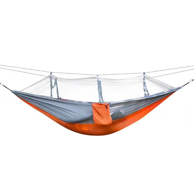 260x140cm Camping Hammock With Mosquito Net Outdoor Camping Mosquito Net Nylon Hammock Hanging Bed Sleeping Swing For Travel Kit sgodde portable outdoor travel camping tent folding nylon hammock bed mosquito net nylon 210t fabric for travel kits camping page 3