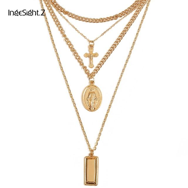 Ingesight Multilayer Crucifix Cross Virgin Mary Pendant Chain Choker Necklace Go