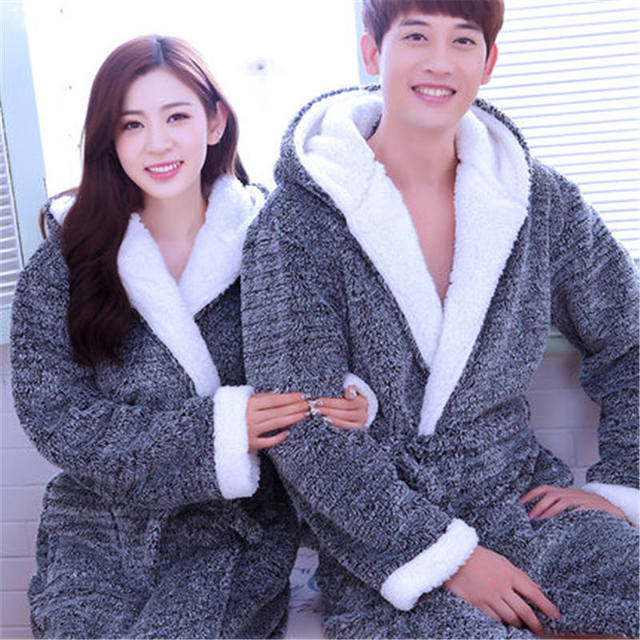 Flannel Hooded Couples Bathrobes Women\'s Robes Winter Dressing Gowns ...
