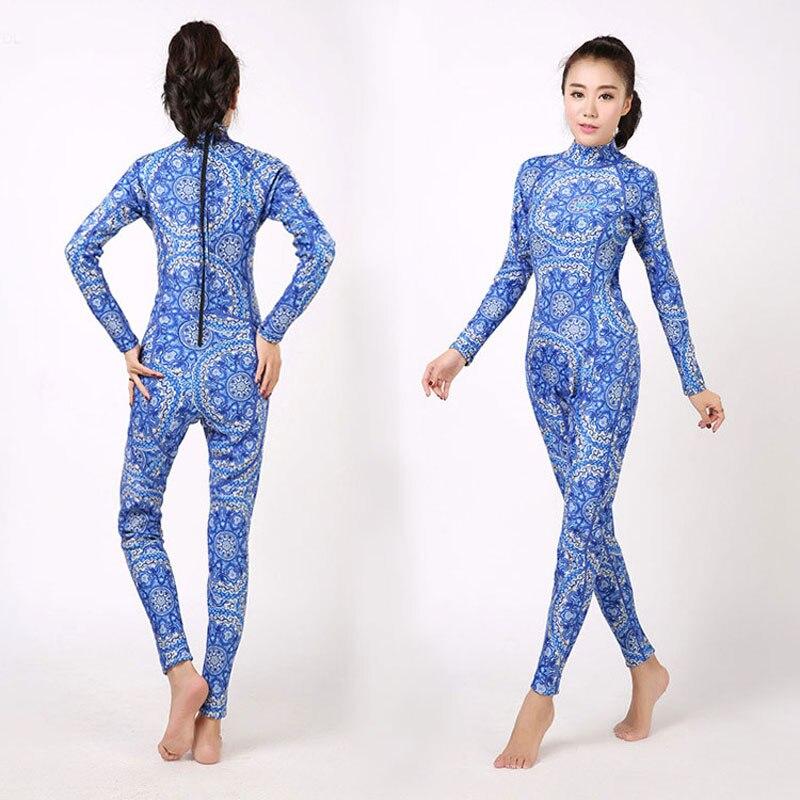 Women's Full Wetsuit 3mm Premium Neoprene Wet Suit XS S M L XL XXL Blue White Floral Printed Full Body Long Sleeve Wetsutis sisjuly white xxl