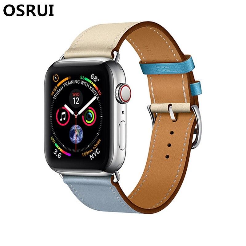Leather Single Tour strap for apple watch band correa 42mm 44mm 40mm 38mm wrist bracelet belt