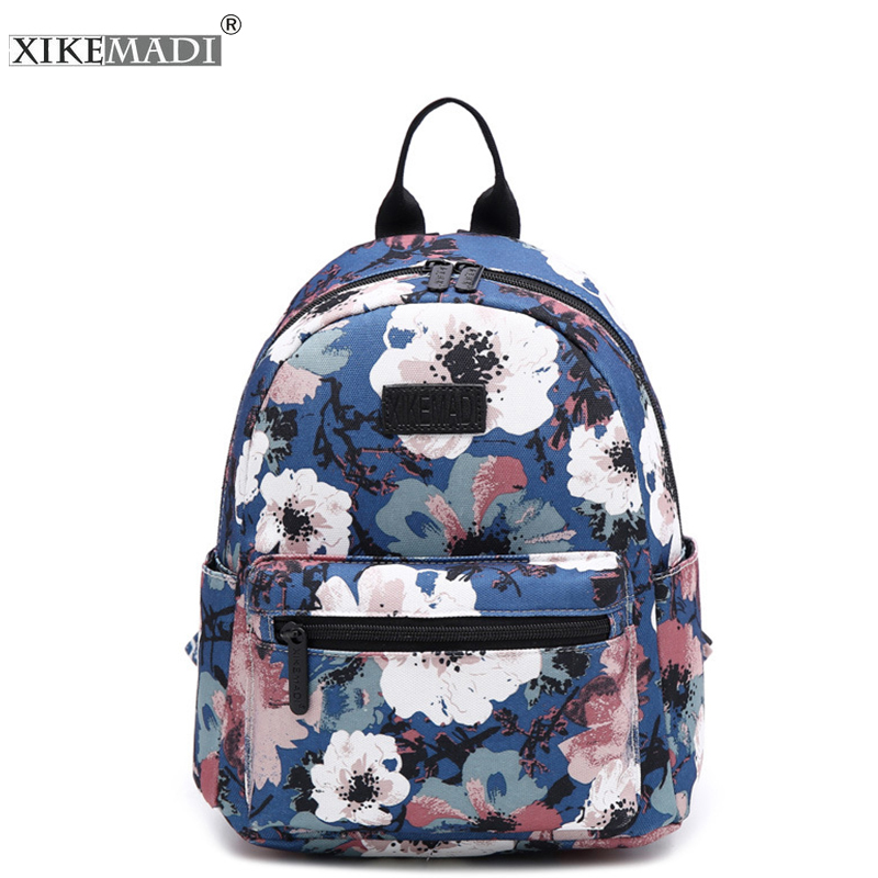 XIKEMADE Simple Canvas Women Backpack Flower Floral