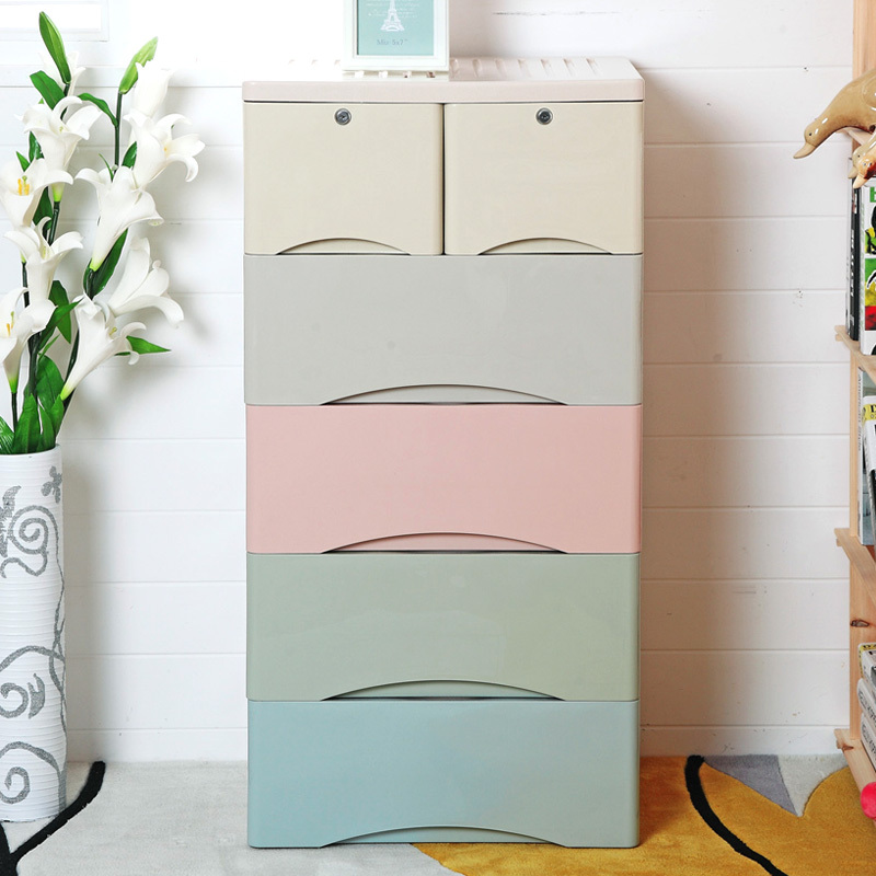 Extra Thick Plastic Drawer Storage Cabinets Baby Wardrobe Cabinet Cartoon Children Sorting Clothes Lockers In Baskets From Home Garden On