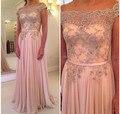 Imágenes reales 2015 Rebordeó La Gasa Vestidos de Baile Vestido de Noche de la Alfombra Roja Elegante de La Gasa de Largo Barato Vestidos de Noche Vestidos de Fiesta