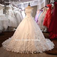 Vestido De Noiva Romantic Flower Strapless Sleeveless Long Tail White Wedding Dress Custom Plus Size Bride Ball Gown