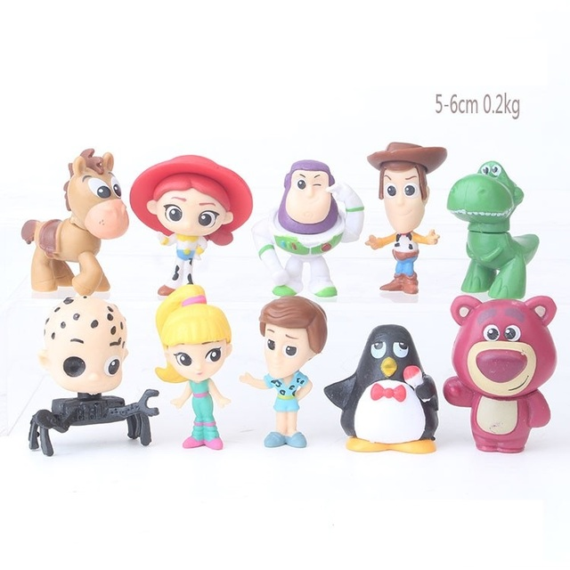 10pcs lot 6cm Toy Story Woody Buzz Lightyear Jessie Rex Bullseye Anime  Cartoon Mini Baby e811fad0f63