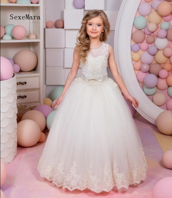 купить Custom Ball Gown Flower Girls Dresses for Wedding Open Back Lace Applique Pageant Dress Girls Communion Gown Size 2 4 8 10 12 14 онлайн