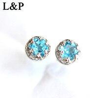 L&P Classic Earrings Design Natural Topaz Crown Earrings For Women Gemstone 925 Sterling silver Luxury Fine Jewelry