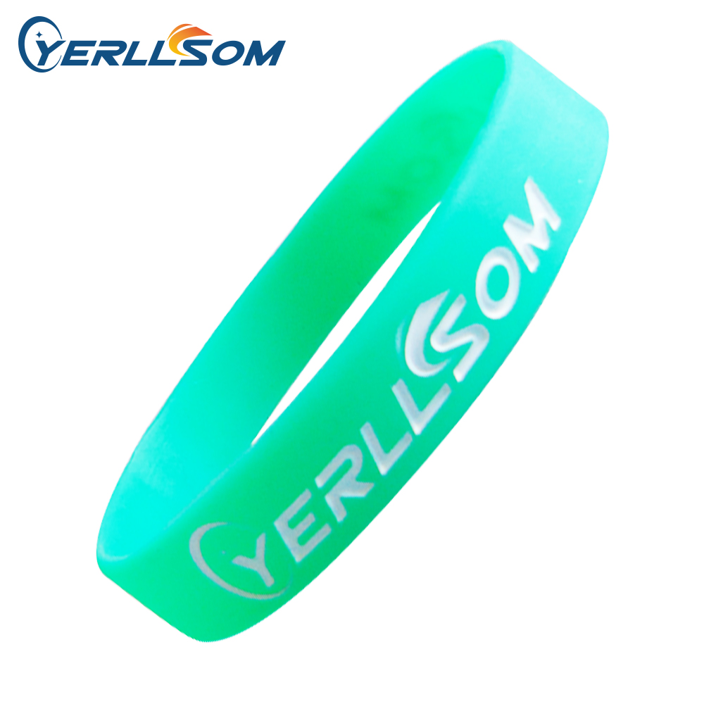 YERLLSOM 500ชิ้น/ล็อตที่มีคุณภาพสูงที่กำหนดเองส่วนบุคคลยางซิลิโคนสร้อยข้อมือสำหรับของขวัญส่งเสริมการขายP051608-ใน สร้อยข้อมือ ID จาก อัญมณีและเครื่องประดับ บน   1