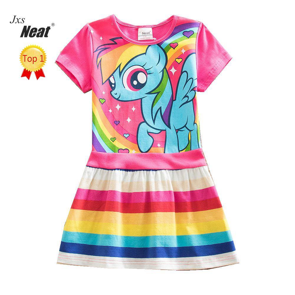 NEAT 2018 Summer girl dress fashion dresses for girls 100% Cotton cartoon print dress vestido infantil children clothing SH6218