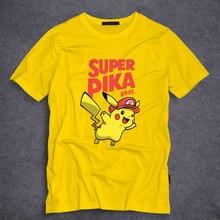 Hot Anime Pikachu Funny Design Printed T Shirts SUPER PIKA Men's Summer Fashion T Shirt Teenager Cartoon Casual Tees Tops