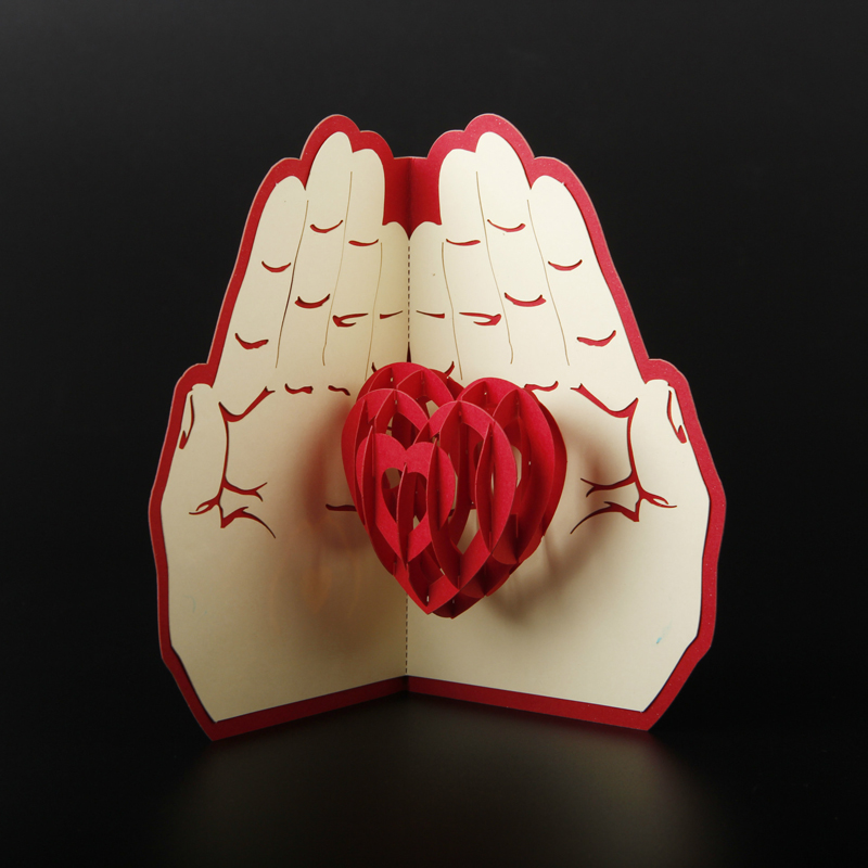 Free Shipping 3D Pop Up Greeting Card Paper Carving Heart in Hand For Lover Anniversary