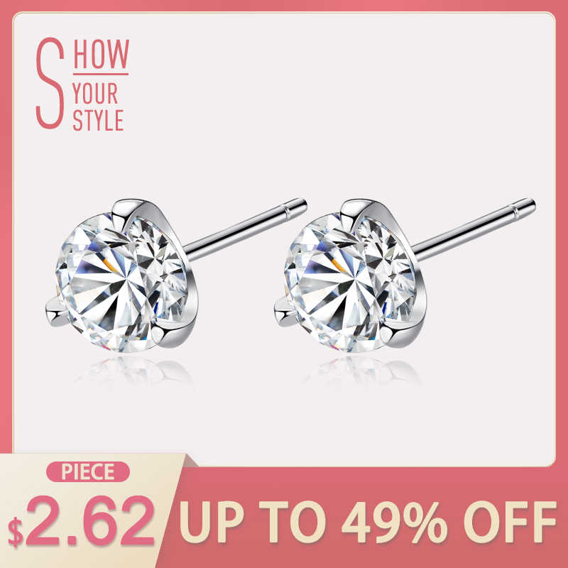0038a892b CZCITY Clear CZ Stud Earrings Simple Three Claws Size 3mm/ 4mm/ 5mm/ 6mm