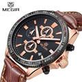 Marca Megir Chronograph Data 6 Mãos Relógio Do Esporte Cronômetro Homens Genuínos Tiras de Couro Militar Moda Relógios relogio masculino