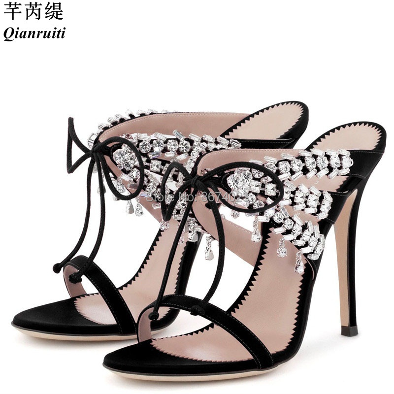 Joyaux Bretelles Cage Femmes noir Marque Celebrity Beige pu fuchsia Mules Cristal Talons Élégant Sandales Ciel Mode beige Gladiateur En Qianruiti Satin Chaussures 4vwxO8f