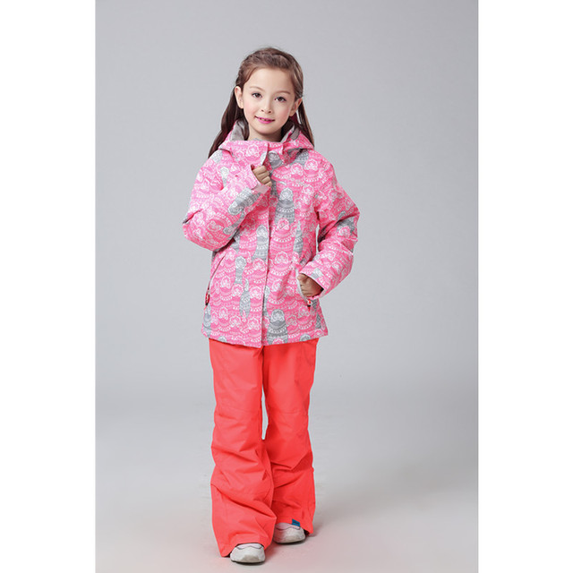 Gsou snow ski suit Children's style Thickening suit ski hiking suit waterproof windproof warm snow suit girl