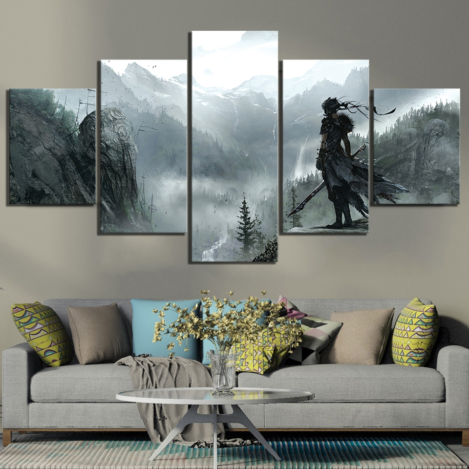 5 Piece HD Picture Hellblade Senuas Sacrifice Game Scene Poster Canvas Paintings Wall Art Mountain Paintings for Home Decor 1