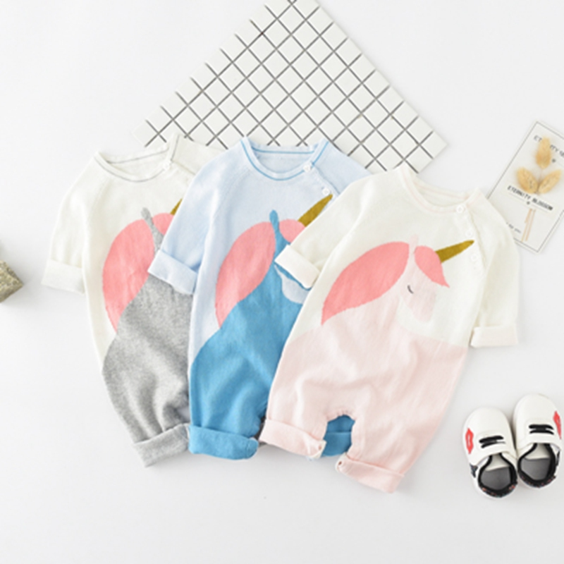 Knitted Unicorn Baby Clothes Newborn Infant Baby Boy Girl Jumpsuit Long Sleeve One-pieces Cute Animal Outfits Fashion   Romper