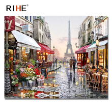 RIHE Street Lover Diy Painting By Numbers Abstract Tower Oil On Canvas Cuadros Decoracion Acrylic Wall Art Living Room
