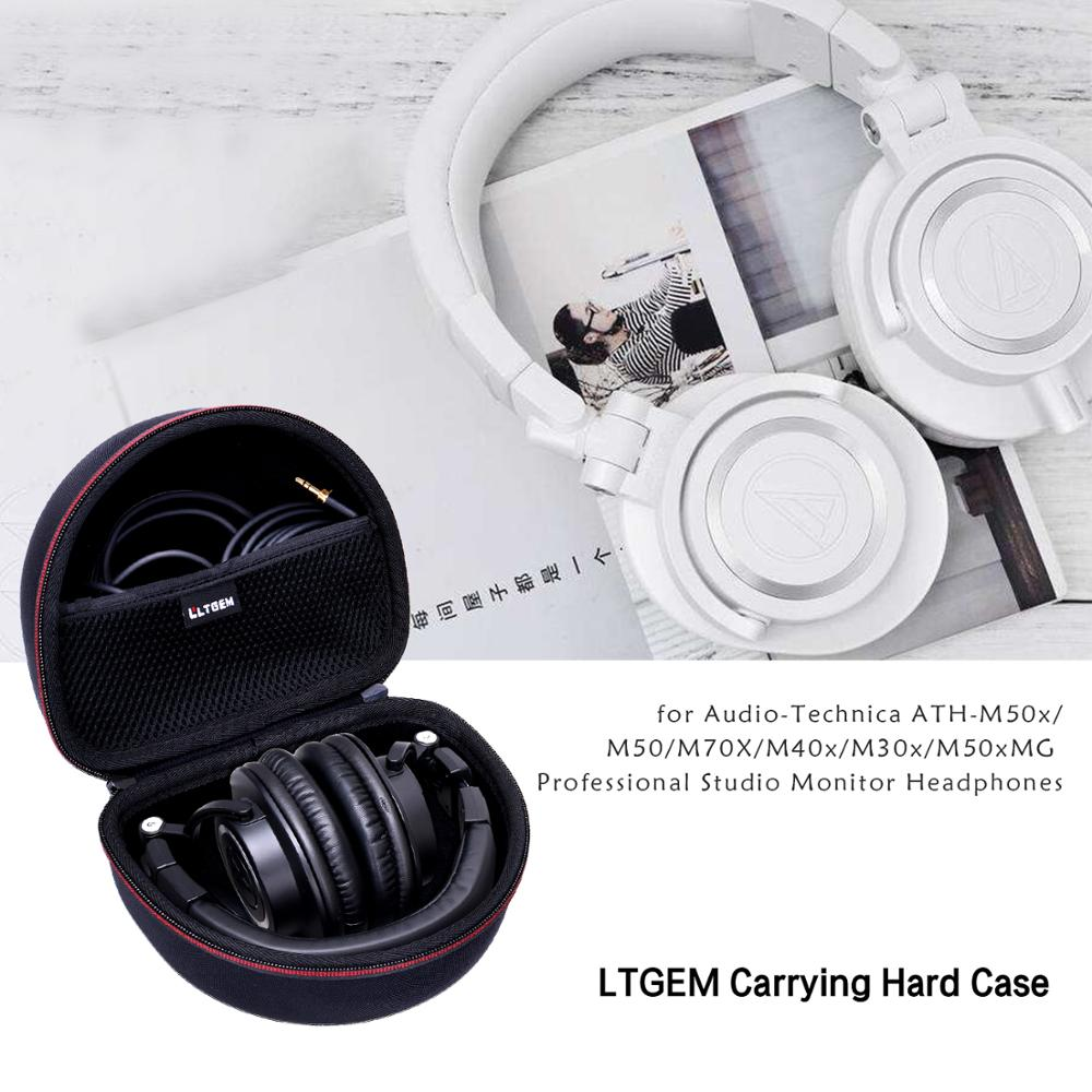 LTGEM EVA Black Hard Carrying Case for Audio-Technica ATH-M50x/M50/M70X/M40x/M30x/M50xMG Professional Studio Monitor Headphones