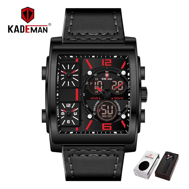 Dual Display Digital Analog Military Sport Wristwatch Leather Clock