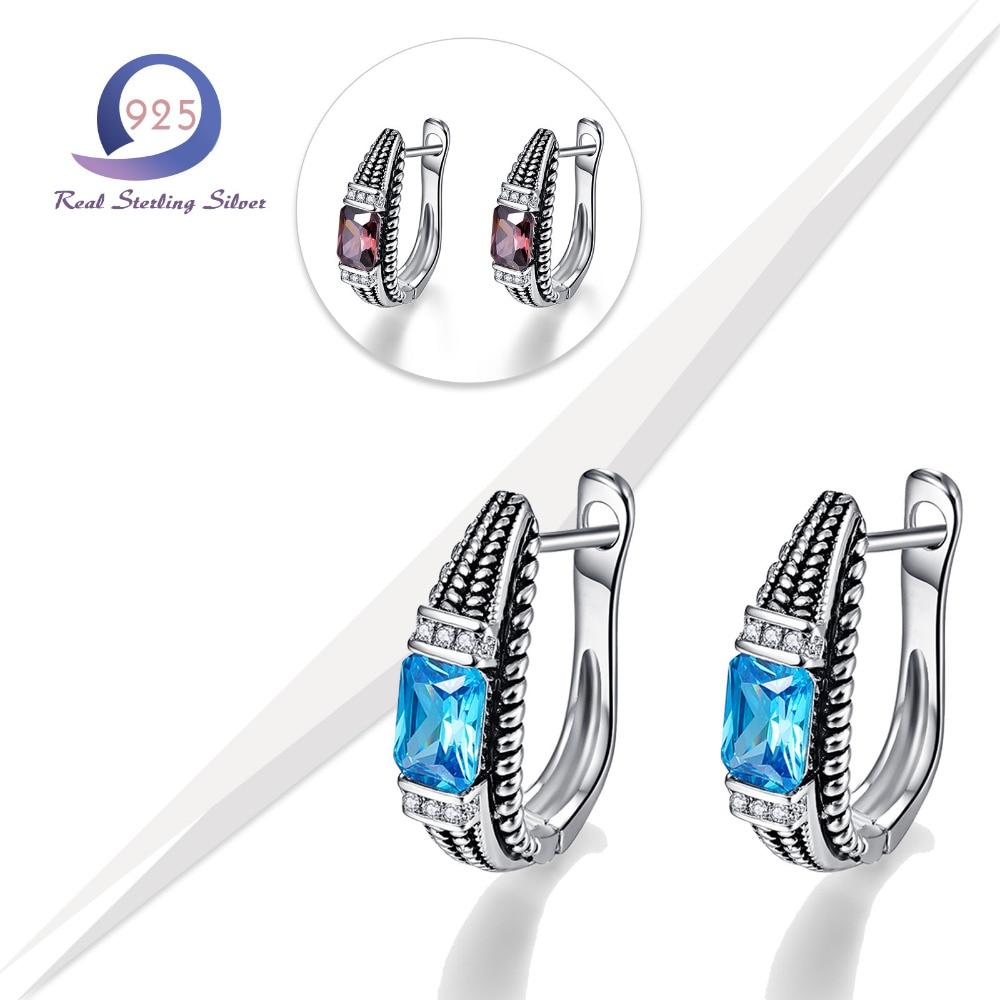 Merthus 925 Sterling Silver Earrings Total 6.2ct Biru Lab-Created - Perhiasan bagus