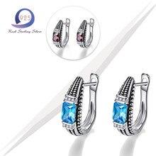 Merthus 925 Sterling Silver Earrings Total 6.2ct Blue Lab-Created Garnet Created Gemstone Stud Earing for Fashion Charm Women