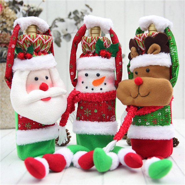 Hoomall 1PC Home Dinner Party Table Decors Wine Cover Christmas Decorations Santa Claus Snowman Gift Navidad Xmas Party Supplies 2