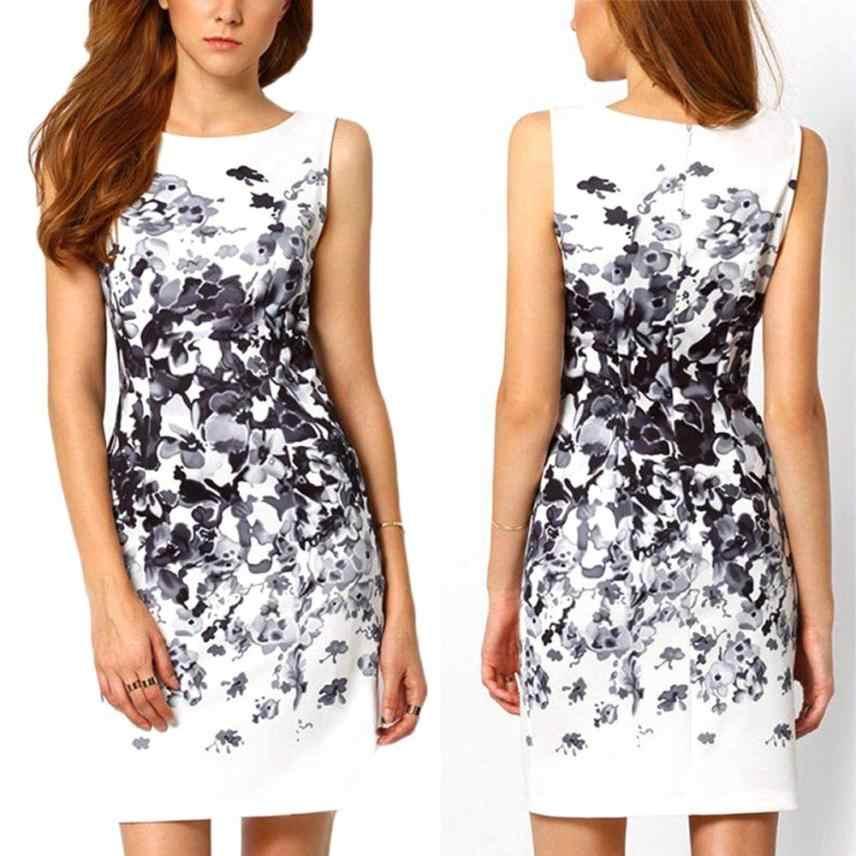 Женские платья элегантные модные 2018 принт Повседневный сексуальный коктейль полиэстер мини летнее пляжное платье белого цвета для дропшиппинг