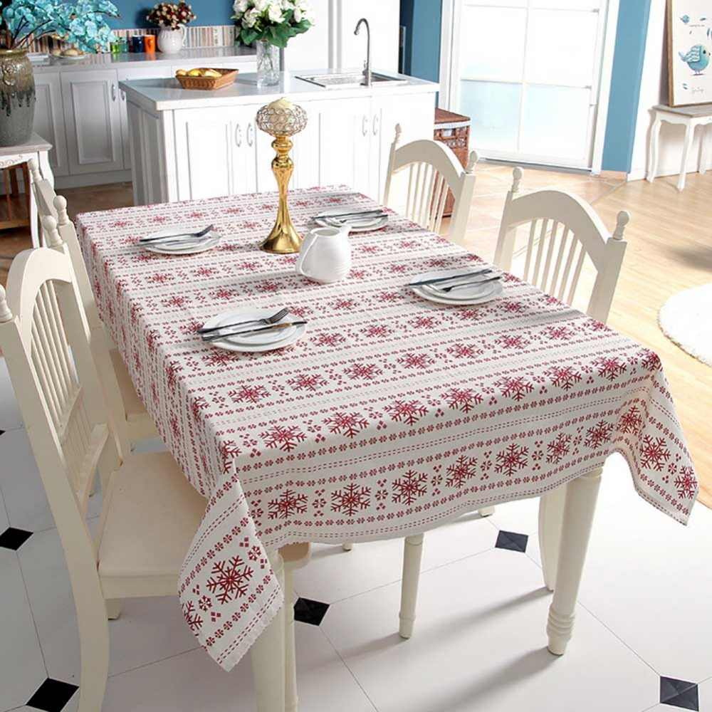 Meijuner Tablecloth Simple Polyester Cotton Imitation Hemp Red Snowflake Christmas Table Cover For Hotel Banquets Home Decor