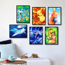 5D Full Rhinestone Pokemon Posters Home Decor DIY Diamond Painting Cartoon Picachu Cross Stitch Pattern Diamond Embroidery(China)