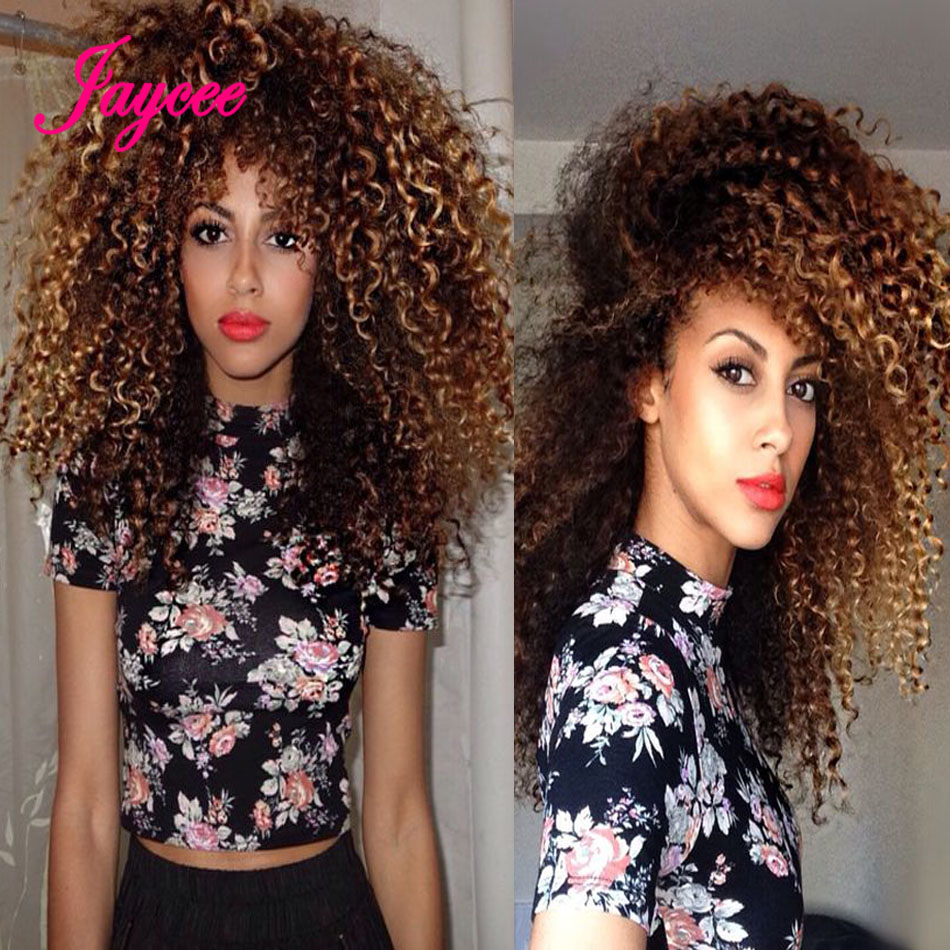 Ombre Deep Curly Hair Brazilian Kinky Curly Virgin Hair