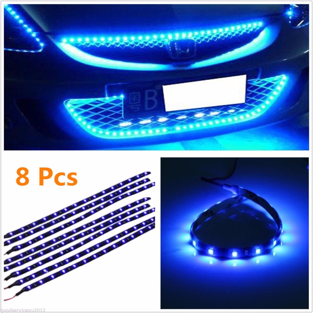 CYAN SOIL BAY 8PCS Blue Car Motorcycle Auto Interior Waterproof Flexible Lighting 30cm 15 SMD LED 3528 Strip light 12V new red bright 30cm 3528 waterproof car cars auto flexible decorations strip light store bar dc 12v