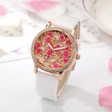 Women's Quartz Wristwatches Top Brand Luxury Diamond Lady Watches Women's Bracelet Watches Relogio Feminino Leather Strap Gift