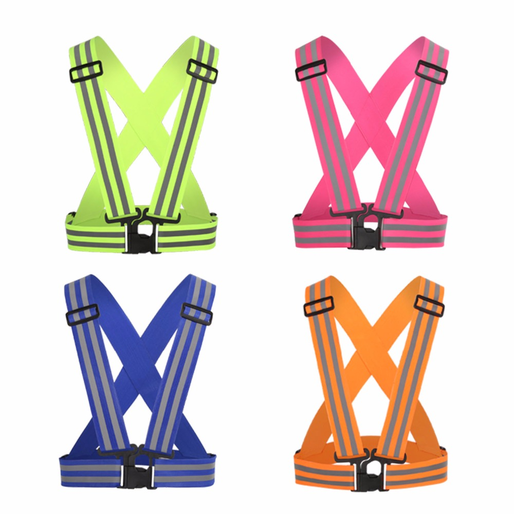 Outdoor Bike Vest Ciclismo Night Sports Running Cycling Safety Adjustable Warning Reflective Vest Elastic Band Stripe 50*50cm