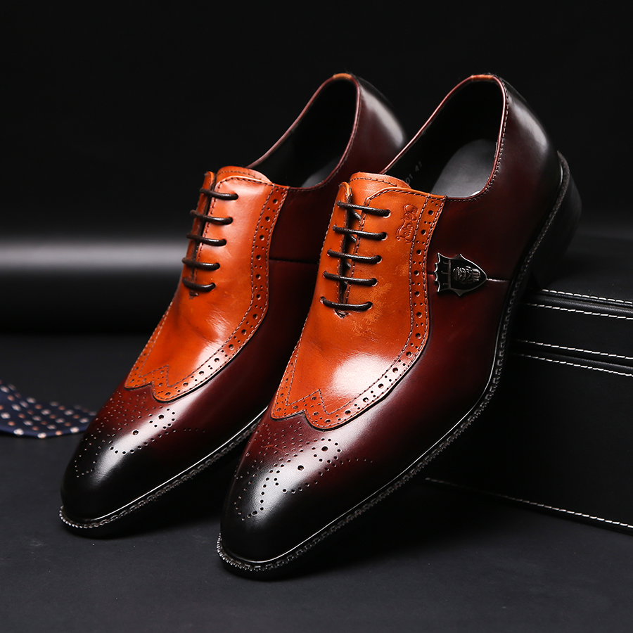 Luxury classic mens brogue oxfords dress shoes genuine cow leather brown pointed toe lace up male