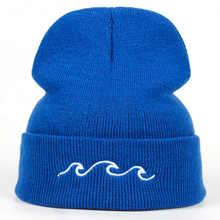 2018 nueva moda Negro Azul pareja ola bordado gorros caliente sombrero  hombres mujeres invierno Hip hop gorra sombreros hueso ab. 13073f134b1