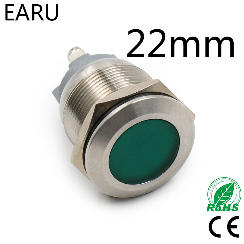 22mm IP67 Waterproof LED Metal Indicator Lamp Light Signal Pilot Warning Screw Feet 5V 12V 24V 110V 220V Red Blue Green Yellow
