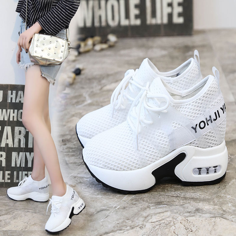 New Women High Top Sneakers Platform Wedge Heels Leather Shoes 10CM Summer Breathable Casual Shoes Zapatillas Deportivas Mujer Сникеры