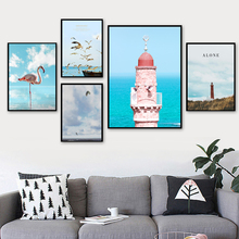 Beacon Flamingo Sea Mew Nordic Posters And Prints Wall Art Canvas Painting Pictures For Living Room Scandinavian Home Decor