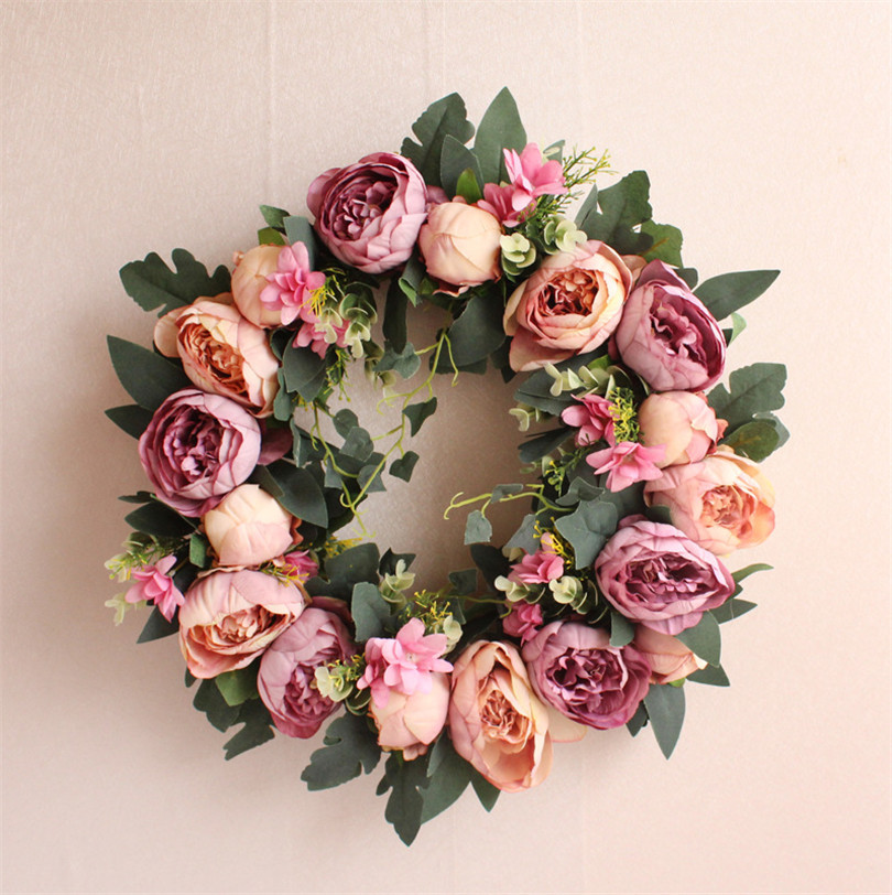 16 inch Spring Shabby Chic Wreath simulation Peony door Wreath home Decor Monogrammed Grapevine for Housewarming Gift