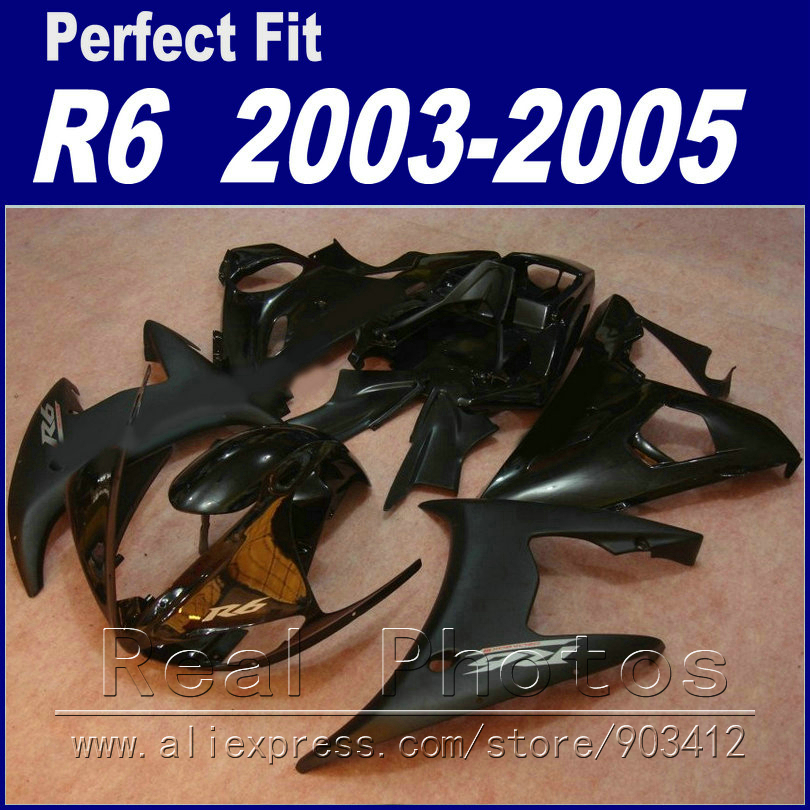 цена на New arrival body work for YAMAHA R6 fairing kit 2003 2004 2005 glossy and matte black Fairing YZF fairings 03 04 05