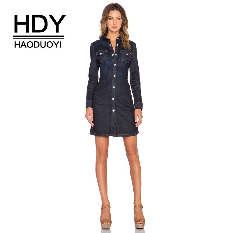 HDY Haoduoyi 2019 Fashion Boyfriend Style Lapel Solid Color Double Pocket Single Row Rivet Buckle Slim Fit Denim Shirt Dress