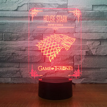 Game Of Thrones Logo Acrylic 3D Night Lamp with 7 Colors Change