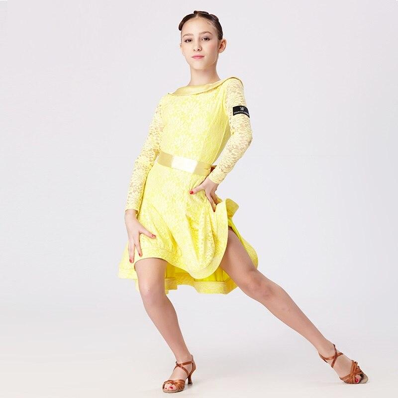 7556ba7be27de Dentelle jaune enfants robe de danse latine pour les filles costumes de  danse moderne pour les enfants robe latine filles vêtements pour danser  rumba samba ...