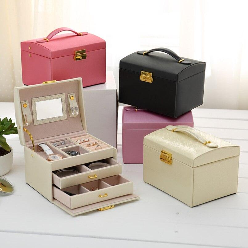 Style européen trois couches en bois bijoux boîte de rangement de haute qualité PU maquillage boîte de rangement anneau collier boucles d'oreilles boîte de rangement 17.5 cm